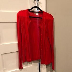 DVF red cardigan